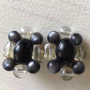 Vintage Lucite Black and Clear Cluster Earrings